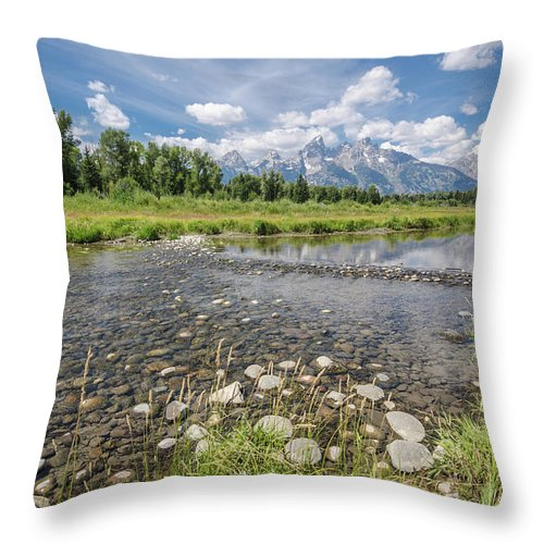 Grand Tetons Throw Pillow featuring the photograph Quiet Day On The Snake by Margaret Pitcher