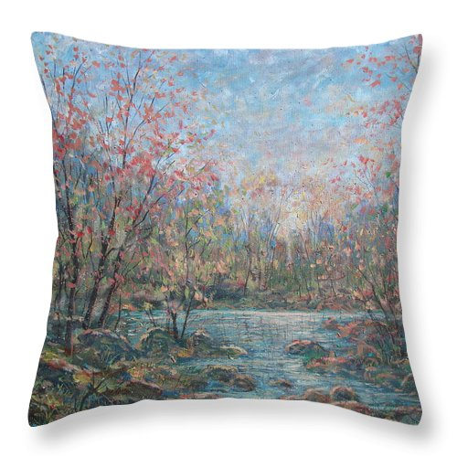 Landscape Throw Pillow featuring the painting Quiet Evening. by Leonard Holland