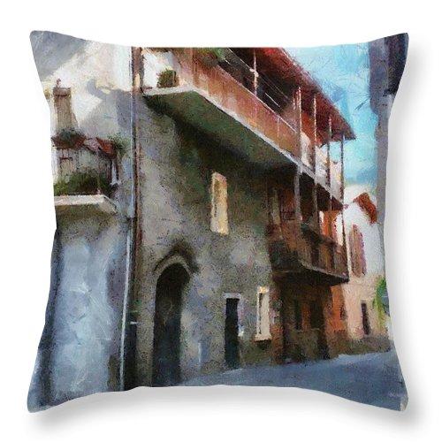 Almenno San Salvatore Throw Pillow featuring the painting Quiet In Almenno San Salvatore by Jeffrey Kolker