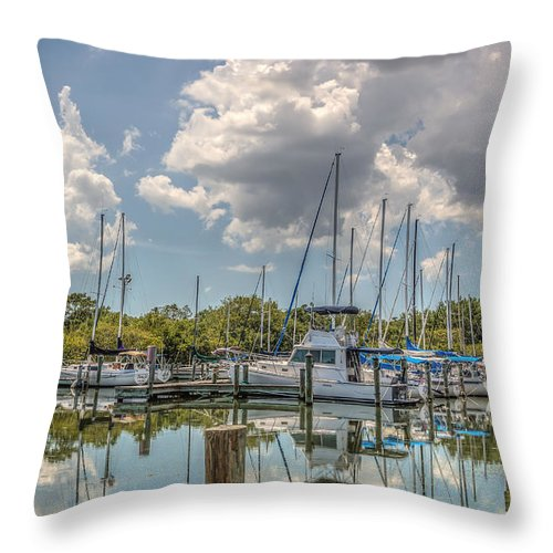 Florida Throw Pillow featuring the photograph Quiet Marina by Jane Luxton