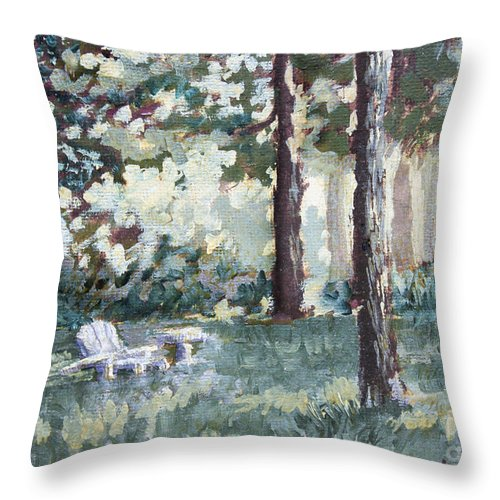 Landscape Throw Pillow featuring the painting Quiet Place by Todd Blanchard