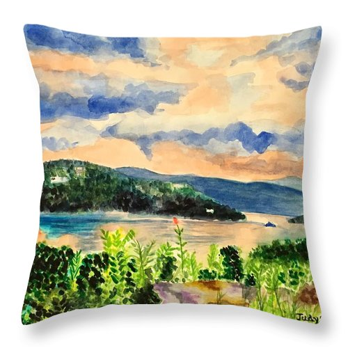Sunset Throw Pillow featuring the painting Quiet Waters by Judy Swerlick