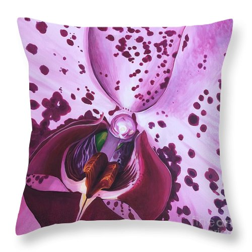 Phaleonopsis Throw Pillow featuring the painting Quiet World by Hunter Jay