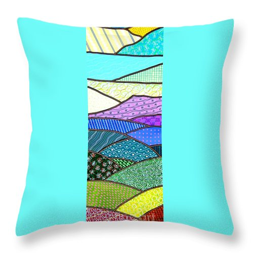 Mountain Throw Pillow featuring the painting Quilted Mountain by Jim Harris