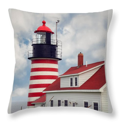 West Quoddy Lighthouse Throw Pillow featuring the photograph Quoddy Lighthouse Afternoon by Brenda Giasson