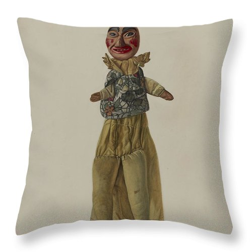"""Throw Pillow featuring the drawing """"punch"""" Clown Puppet by Florian Rokita"""