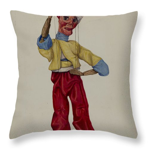 """Throw Pillow featuring the drawing """"sinbad"""" Marionette by George File"""