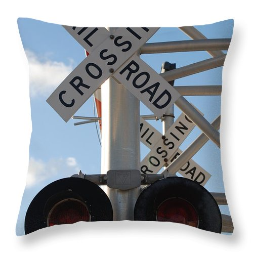 Train Throw Pillow featuring the photograph R X R Crossing by Rob Hans