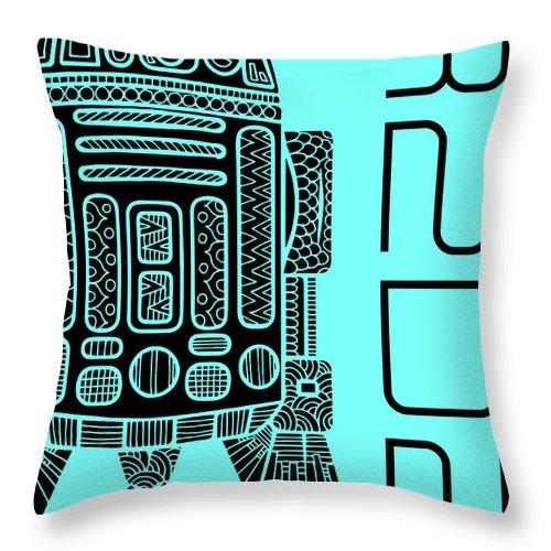 R2d2 Throw Pillow featuring the mixed media R2d2 - Star Wars Art - Blue by Studio Grafiikka