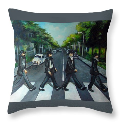 Surreal Throw Pillow featuring the painting Rabbi Road by Valerie Vescovi