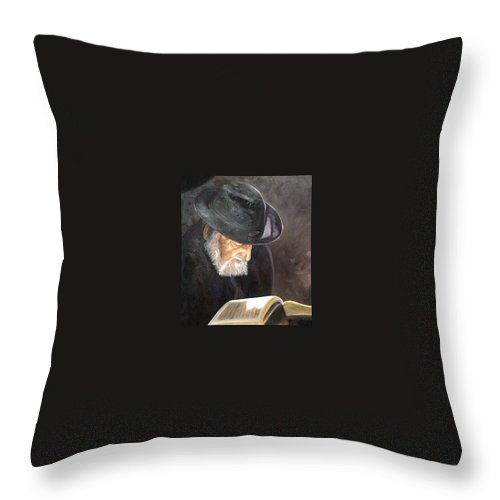 Portrait Throw Pillow featuring the painting Rabbi by Toni Berry