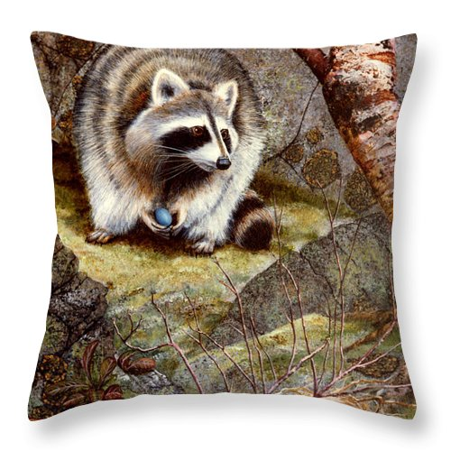Raccoon Found Treasure Throw Pillow featuring the painting Raccoon Found Treasure by Frank Wilson