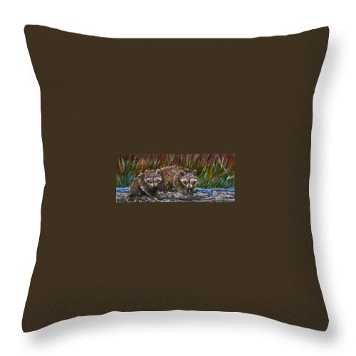 Animal Throw Pillow featuring the painting Raccoons From River Mural by Dawn Senior-Trask