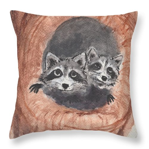 Raccoon Throw Pillow featuring the painting Raccoons by Jennie Hallbrown