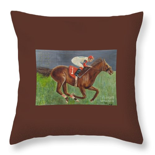 Race Horse Throw Pillow featuring the painting Race Horse Big Brown by Anthony Morretta