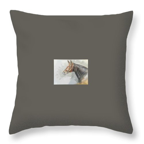 Race Horse Throw Pillow featuring the painting Race Horse Study 1 by Ramesh Mahalingam