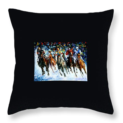 Race Throw Pillow featuring the painting Race On The Snow by Leonid Afremov