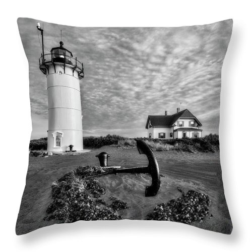 Beacon Throw Pillow featuring the photograph Race Point Lighthouse Bw by Susan Candelario