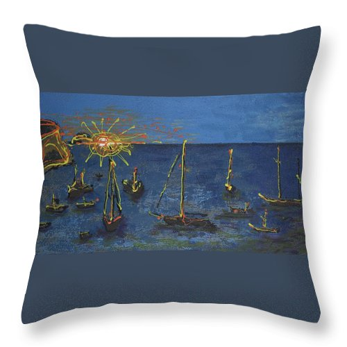 Sail Throw Pillow featuring the painting Raceday Sunrise by Richard W Dillon
