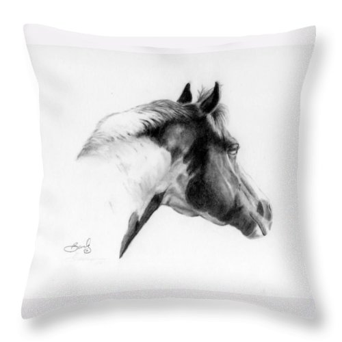 Pencil Drawing Throw Pillow featuring the drawing Racer by Beverly Johnson