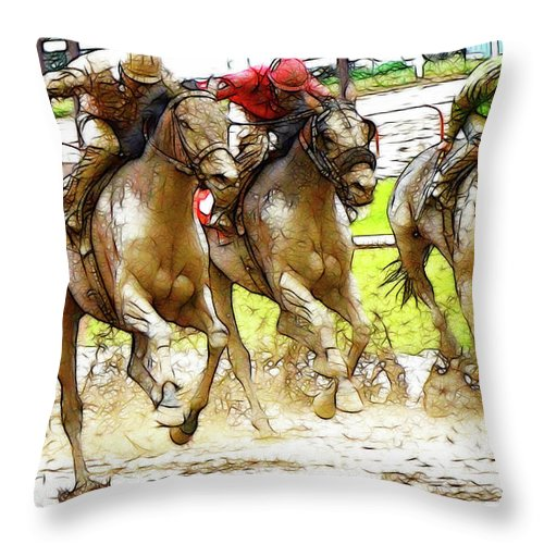 Jockey Throw Pillow featuring the photograph Racetrack Dreams 11 by Bob Christopher