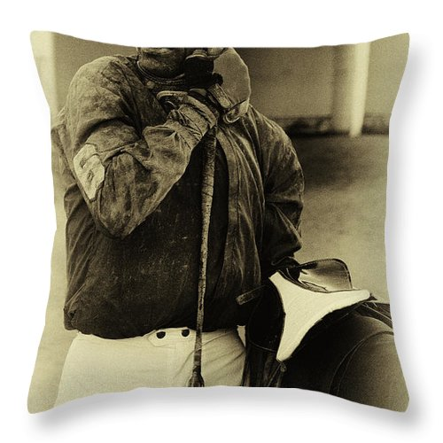 Jockey Throw Pillow featuring the photograph Racetrack Heroes 6 by Bob Christopher