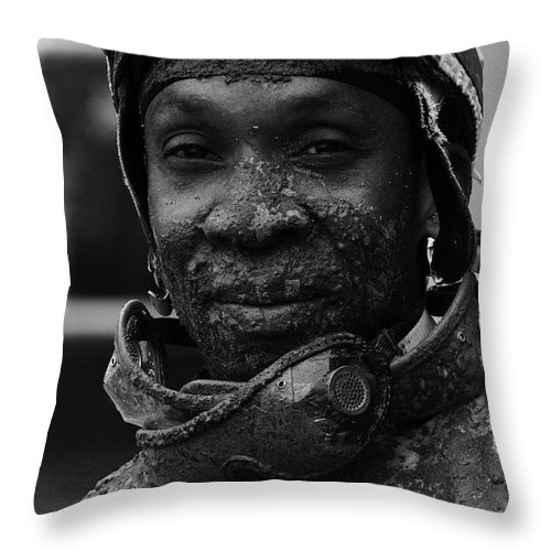 Jockey Throw Pillow featuring the photograph Racetrack Heroes 8 by Bob Christopher