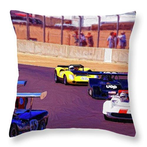 Racing At Laguna Seca Throw Pillow featuring the painting Racing At Laguna Seca by Dominic Piperata