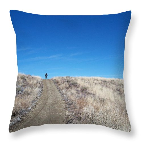 Racing Bike Throw Pillow featuring the photograph Racing Over The Horizon by Heather Kirk