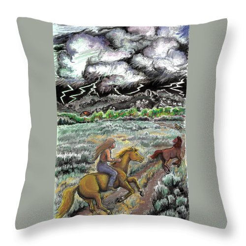 Animal Throw Pillow featuring the drawing Racing The Lightning Home by Dawn Senior-Trask