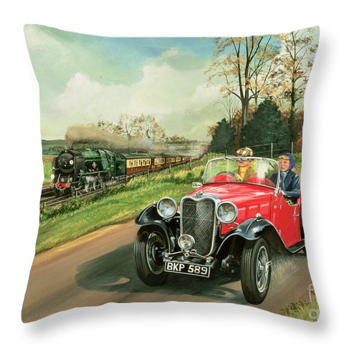 Car Throw Pillow featuring the painting Racing The Train by Richard Wheatland
