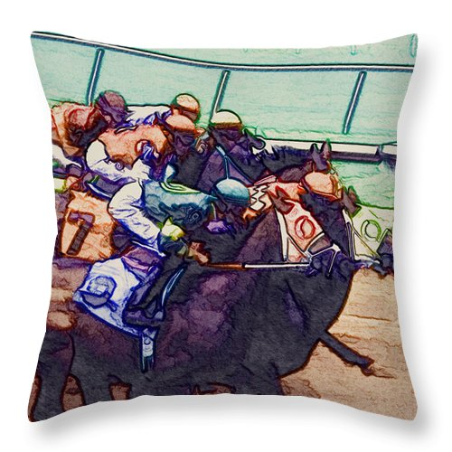 Horse Throw Pillow featuring the digital art Racing To The Finish Line by Arline Wagner