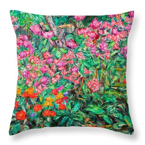 Kendall Kessler Throw Pillow featuring the painting Radford Flower Garden by Kendall Kessler