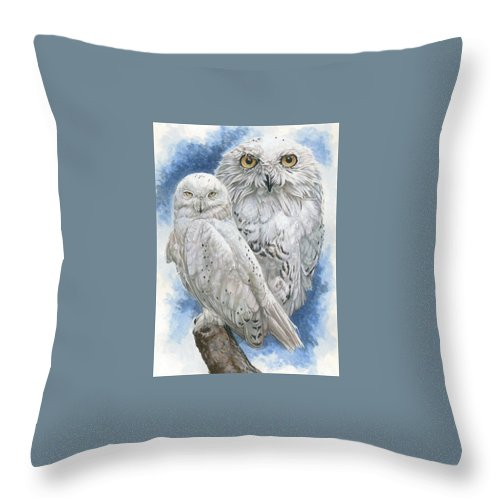 Snowy Owl Throw Pillow featuring the mixed media Radiant by Barbara Keith
