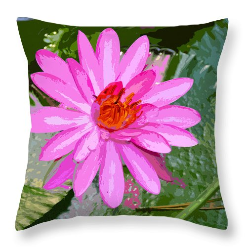 Flower Throw Pillow featuring the painting Radiant Pink by David Lee Thompson