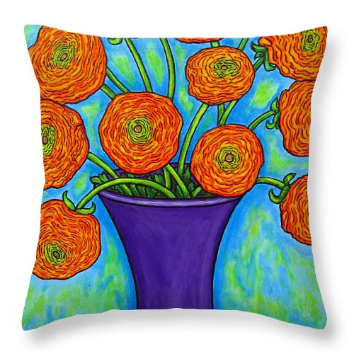 Green Throw Pillow featuring the painting Radiant Ranunculus by Lisa Lorenz
