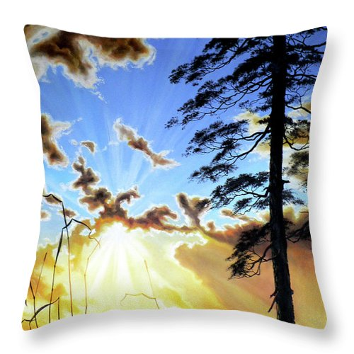 Sunrise Throw Pillow featuring the painting Radiant Reflection by Hanne Lore Koehler