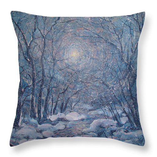 Snow Landscape Throw Pillow featuring the painting Radiant Snow Scene by Leonard Holland