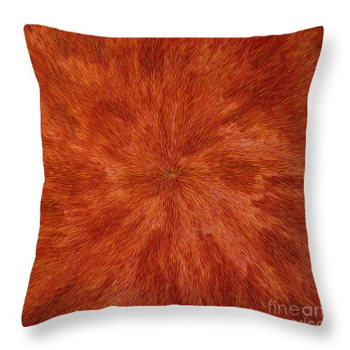Abstract Throw Pillow featuring the painting Radiation with Brown Yellow and Voilet by Dean Triolo