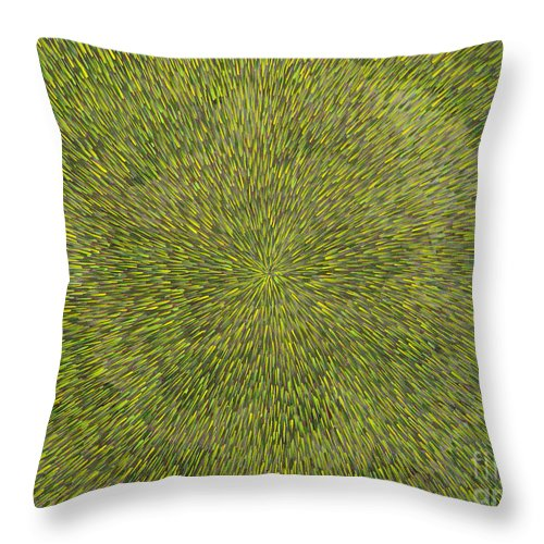 Abstract Throw Pillow featuring the painting Radiation With Green With Yellow by Dean Triolo