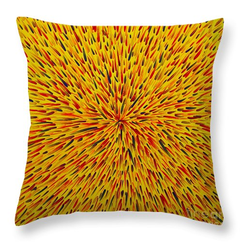 Abstract Throw Pillow featuring the painting Radiation Yellow by Dean Triolo