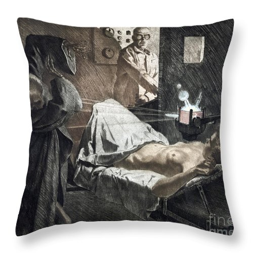 1930 Throw Pillow featuring the photograph Radiologist, C1930 by Granger