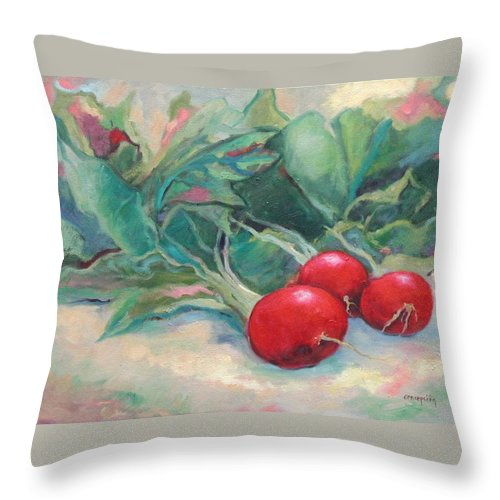 Radishes Throw Pillow featuring the painting Radishes by Ginger Concepcion