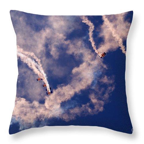 Raf Falcons Throw Pillow featuring the photograph Raf Falcons by Angel Ciesniarska