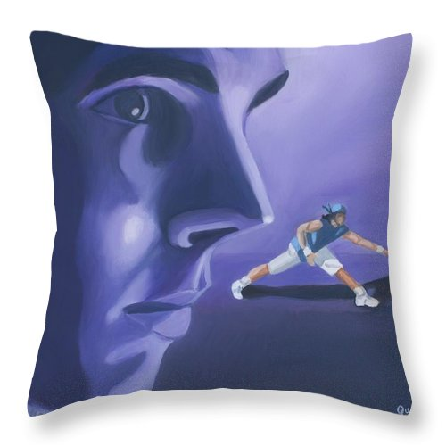 Raphael Throw Pillow featuring the painting Rafael Nadal by Quwatha Valentine