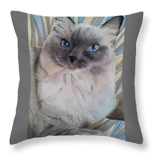 Sue Foster Throw Pillow featuring the painting Rag Doll by Sue Stephan Foster