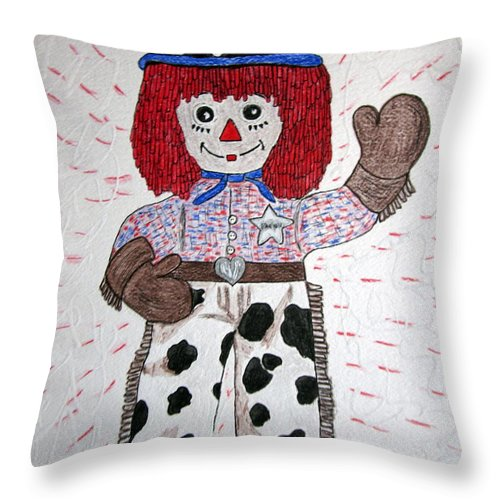 Raggedy Andy Throw Pillow featuring the painting Raggedy Andy Cowboy by Kathy Marrs Chandler