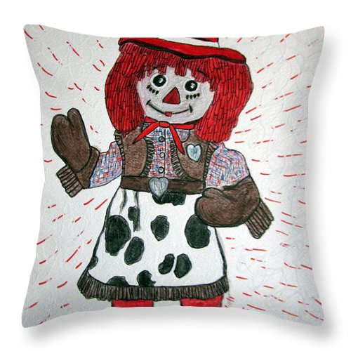 Raggedy Ann Throw Pillow featuring the painting Raggedy Ann Cowgirl by Kathy Marrs Chandler