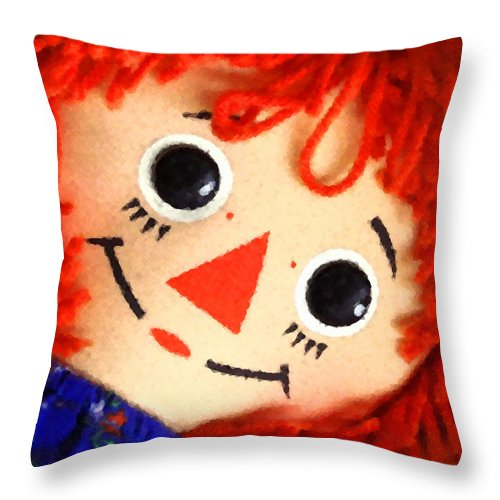 Doll Throw Pillow featuring the digital art Raggedy Ann by Timothy Bulone