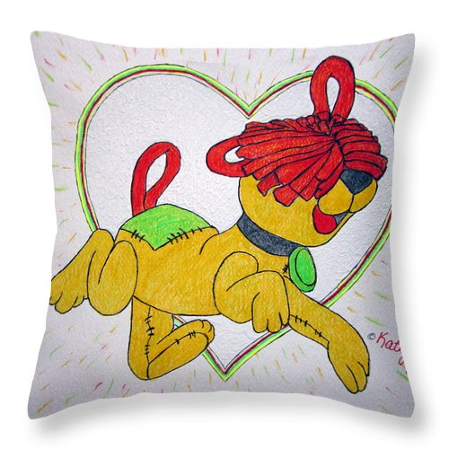 Raggedy Arthur Throw Pillow featuring the painting Raggedy Arthur by Kathy Marrs Chandler